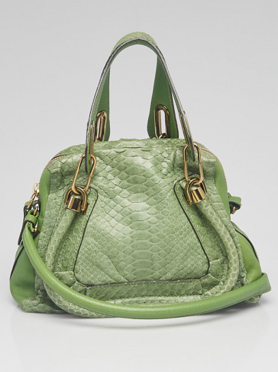 Chloe Green Python and Leather Small Paraty Bag