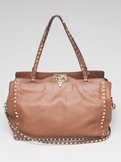 Valentino Brown Leather Rockstud Trapeze Medium Tote Bag