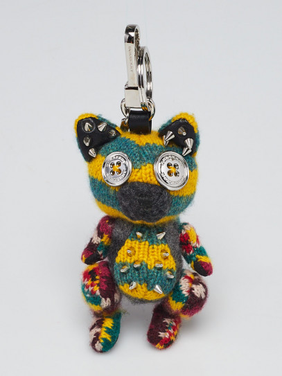 Burberry Green/Yellow Knit Studded Dave The Fox Key Charm