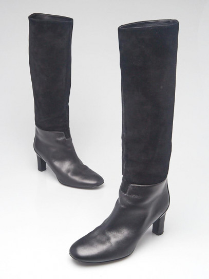 Hermes Black Suede and Leather Tall Boots Size 6/36.5