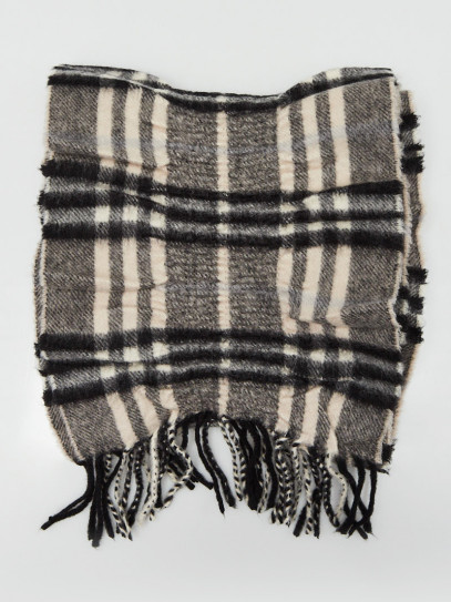 Burberry Black/Grey Cashmere Classic Check Pleated Scarf