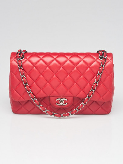 Chanel Red Quilted Lambskin Leather Classic Jumbo Double Flap Bag
