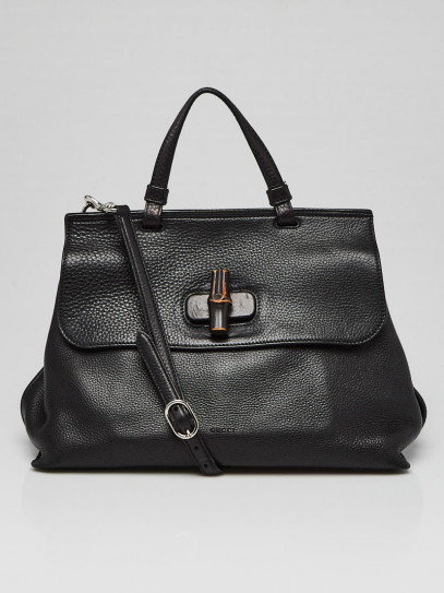 Gucci Black Pebbled Leather Bamboo Daily Top Handle Bag