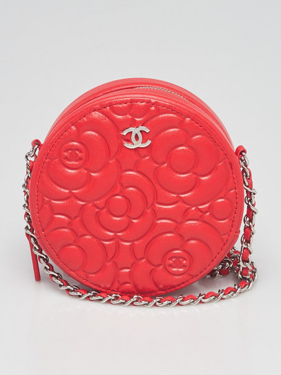 Chanel Red Camellia Embossed Round Crossbody  Bag