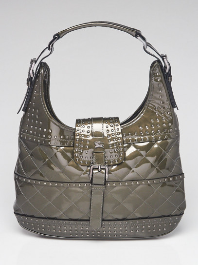 Burberry Green Patent Leather Studded Hobo Bag