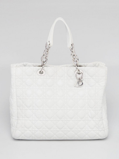 Christian Dior White Cannage Quilted Lambskin Leather Small Dior Soft Tote Bag
