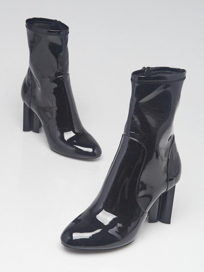 Louis Vuitton Black Patent Leather Silhouette Ankle Boots Size 5.5/36