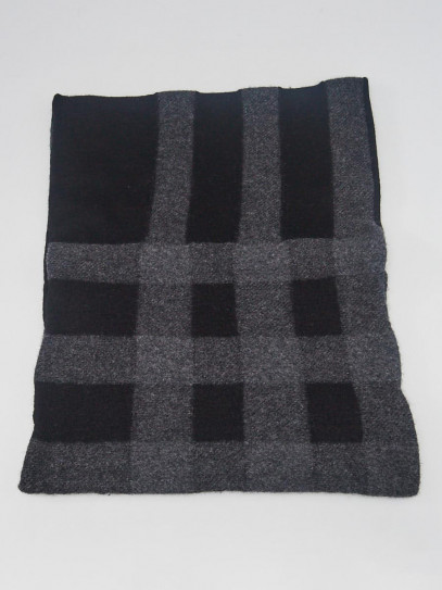 Burberry Black/Grey Checked Wool Heavy Weight Snood Scarf