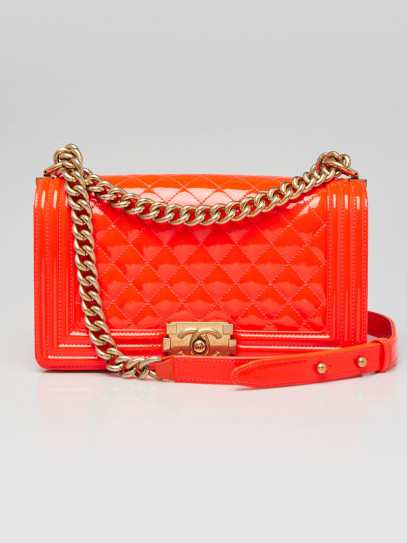 Chanel Fluo Orange Quilted Patent Leather Medium Boy Bag