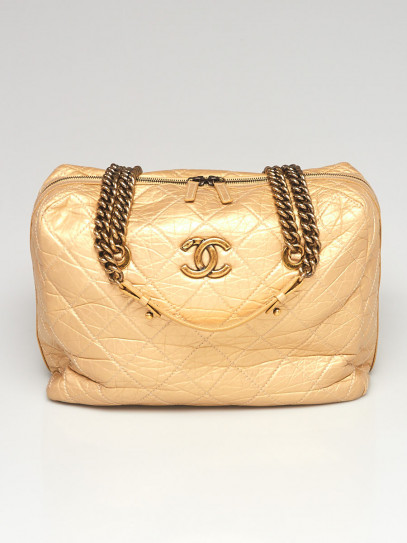 Chanel Gold Quilted Leather Calfskin Leather Secret Tag Large Bowling Bag