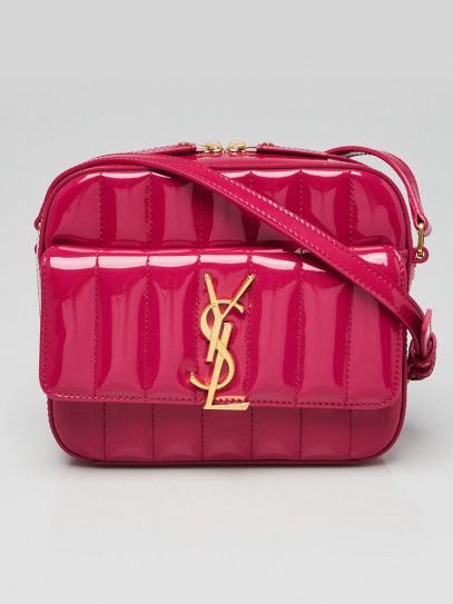 Yves Saint Laurent Pink Quilted Patent Leather Vicky Camera Bag