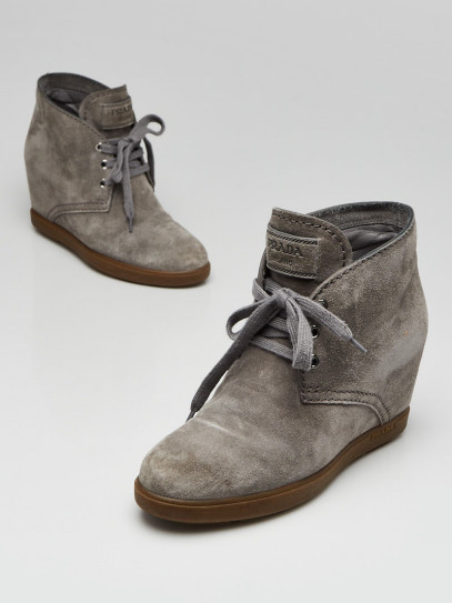 Prada Light Grey Suede Lace Up Wedge Booties Size 5/35.5