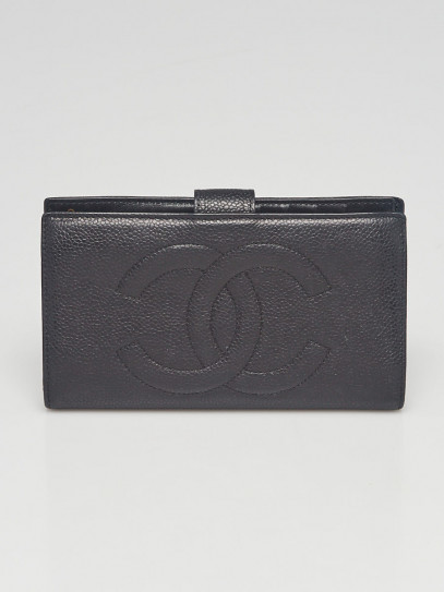 Chanel Black Lambskin Leather CC French Purse Wallet