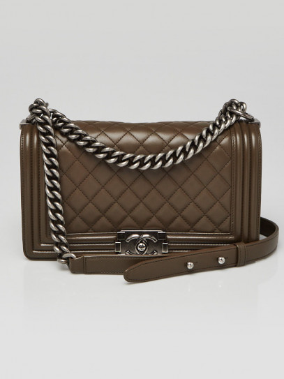 Chanel Green Quilted Leather Medium Boy Bag