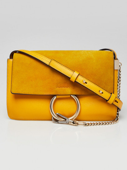 Chloe Yellow Leather and Suede Small Faye Crossbody Bag