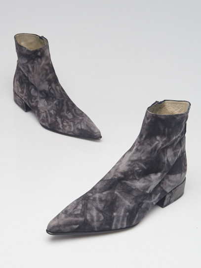 Prada Black/Grey Distressed Suede Pointed Toe Ankle Boots Size 8.5/39