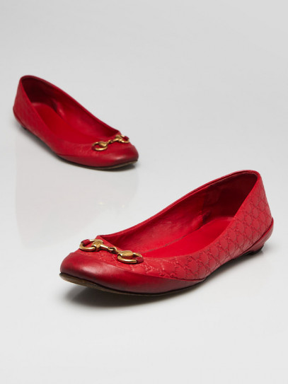 Gucci Red Guccissima Leather Horsebit Ballet Flats Size 6/36.5
