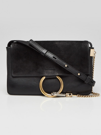 Chloe Black Leather and Suede Small Faye Crossbody Bag