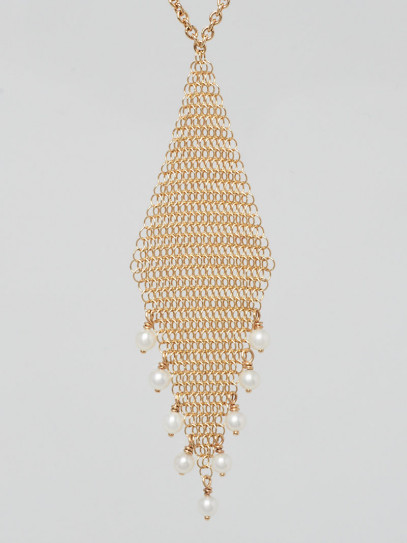 Tiffany & Co. 18K Gold and Fresh Water Pearls Elsa Peretti Mesh Pendant Necklace