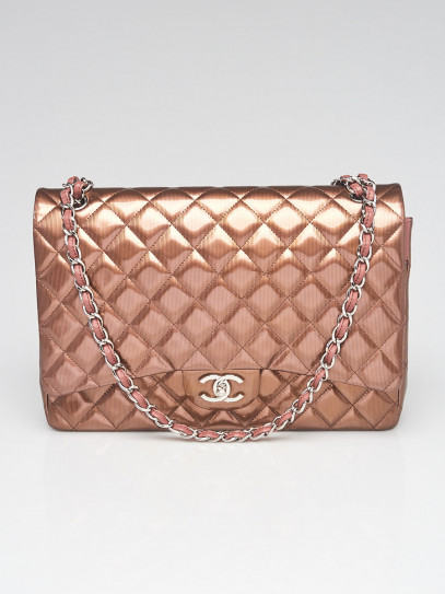 Chanel Bronze Striated Quilted Patent Leather Classic Maxi Double Flap Bag