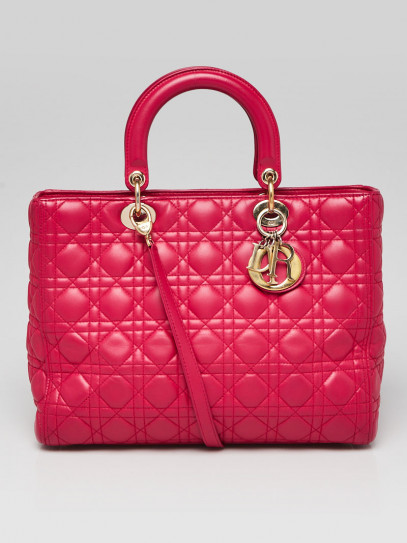 Christian Dior Pink Cannage Quilted Lambskin Leather Large Lady Dior Bag