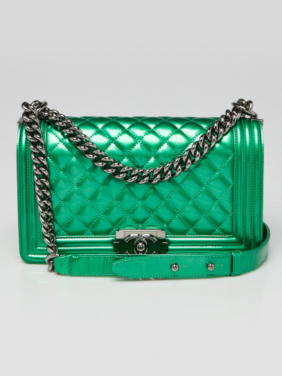 Chanel Metallic Green Quilted Patent Leather Medium Boy Bag