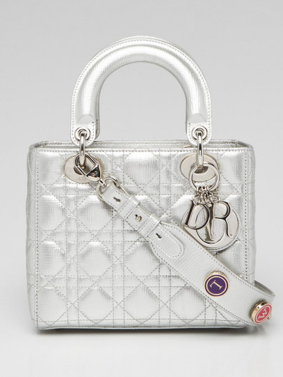 Christian Dior Silver Cannage Quilted Calfskin Leather My ABCDior Lady Bag
