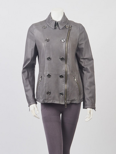 Burberry Britt Grey Leather Double Breasted Jacket Size 8/42