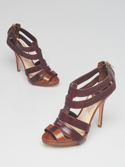 Christian Dior Brown Leather Open Toe Strappy Sandals Size 6.5/37