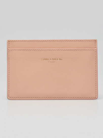 Yves Saint Laurent Pink Leather  Y Card Case