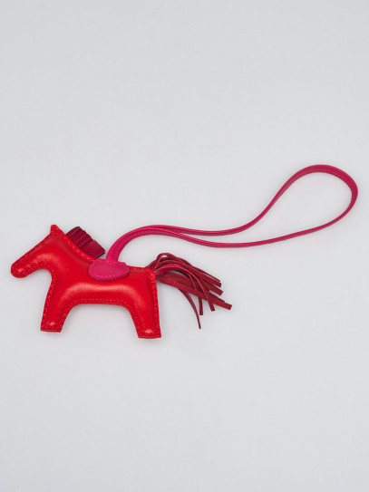 Hermes Rouge Indien/Rubis/Rose Mexico Milo Lambskin GriGri Rodeo Horse PM Bag Charm