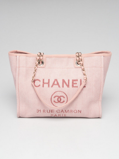Chanel Pink Canvas Deauville Large Shopping Tote Bag