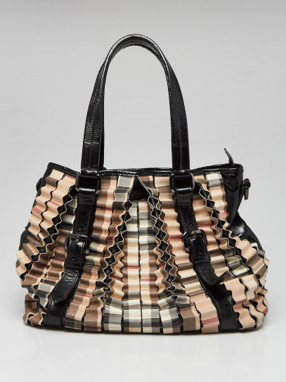 Burberry Black Patent Leather Ruffle Check Large Lowry Bag w/o Strap