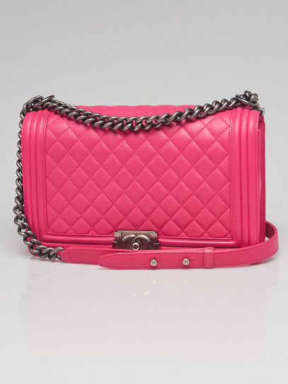 Chanel Pink Quilted Lambskin Leather New Medium Boy Bag
