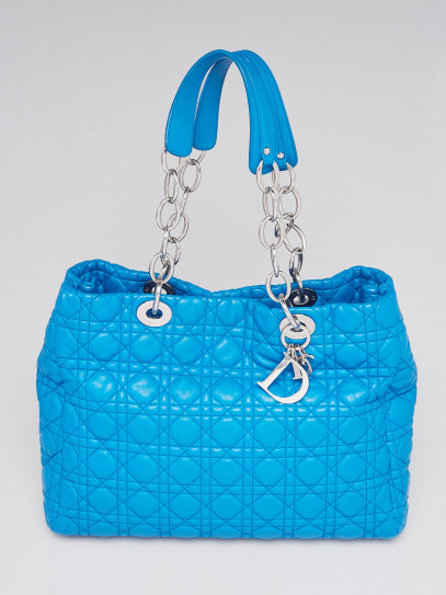 Christian Dior Blue Cannage Quilted Lambskin Leather Dior Soft Shopping Tote Bag
