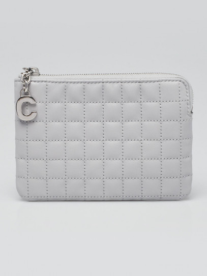 Celine Light Grey Quilted Calfskin Leather Coin and Card Pouch C Charm Wallet