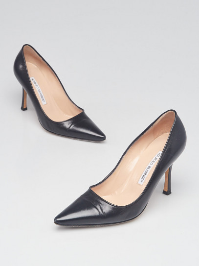 Manolo Blahnik Black Leather BB 90 Pointed Toe Pumps Size 4/34.5