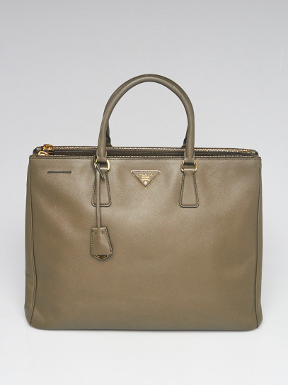 Prada Green Saffiano Lux Leather Large Double Zip Tote Bag B1786