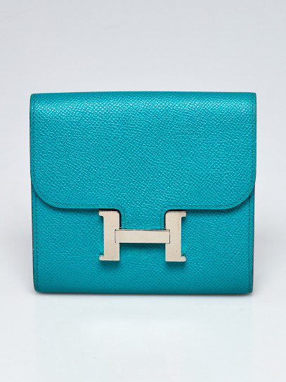 Hermes Blue Paon Epsom Leather Palladium Plated Constance Compact Wallet