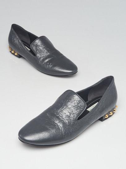 Balenciaga Gris Fossile Leather Studded Loafers Size 9.5/40