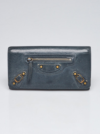Balenciaga Anthracite Lambskin Leather Classic Money Wallet