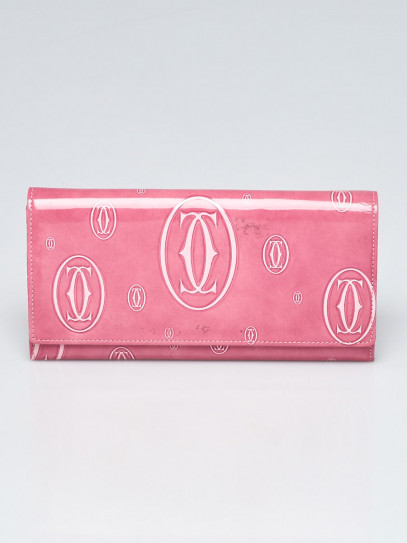 Cartier Pink Patent Calfskin Leather Happy Birthday Long Wallet