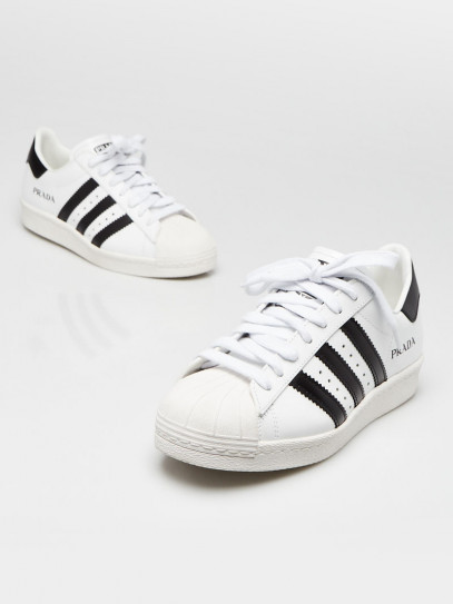 Prada Adidas White/Black Leather Lace Up Sneakers Size 5.5/36