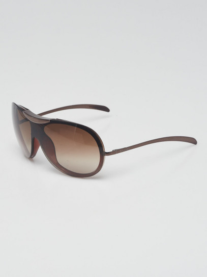 Chanel Brown Acetate Frame Gradient Tint Shield Sunglasses