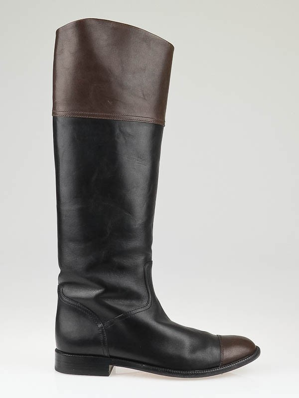 chanel black leather knee high flat boots size 9 39