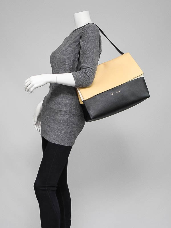 celine online bags - Celine Yellow/Black Smooth Calfskin Leather All Soft Tote Bag ...