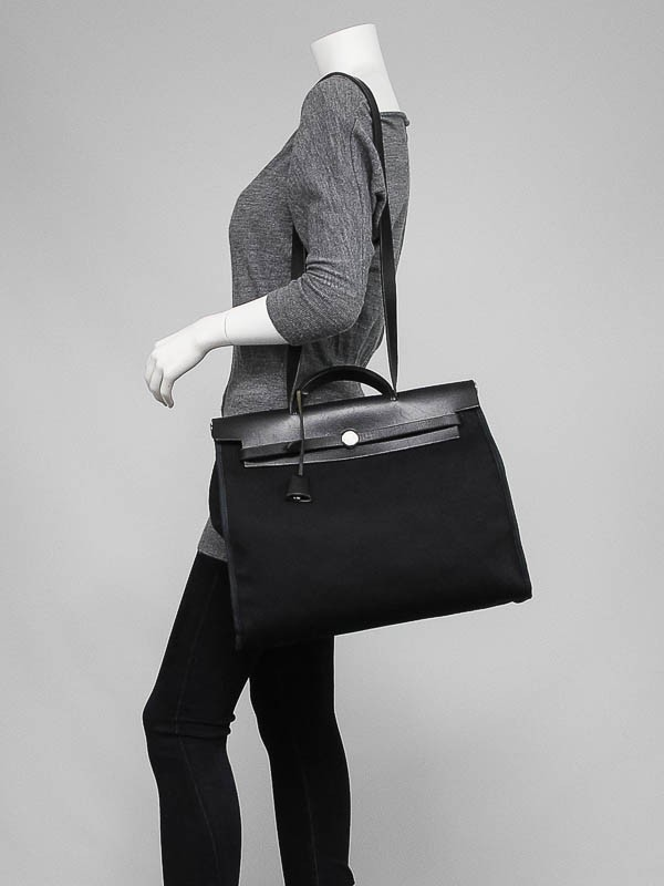 Hermes 40cm Black Canvas and Leather 2-in-1 Herbag GM Bag ...