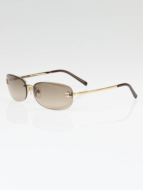 Chanel Gold Metal Frame Brown Tint CC Logo Sunglasses-4099 ...