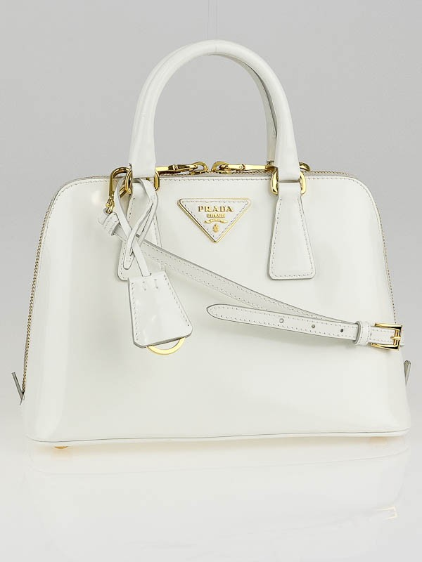 authentic prada backpacks - Prada White Patent Leather Small Round Top-Handle Bag - Yoogi\u0026#39;s Closet