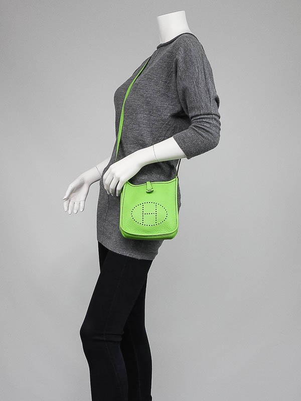 Hermes Neon Green Clemence Leather Evelyne TPM Bag - Yoogi\u0026#39;s Closet